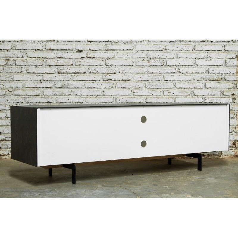 Meuble TV bas contemporain 1 porte 1 tiroir 2 niches BOUBA en chêne massif et revêtement minéral (chêne naturel, noir) - image 36112