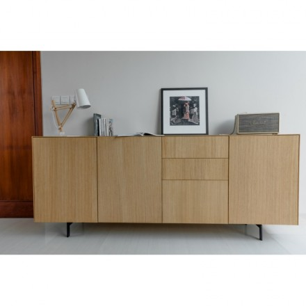 Row 3 buffet doors 3 drawers contemporary FIFI solid oak (natural oak)