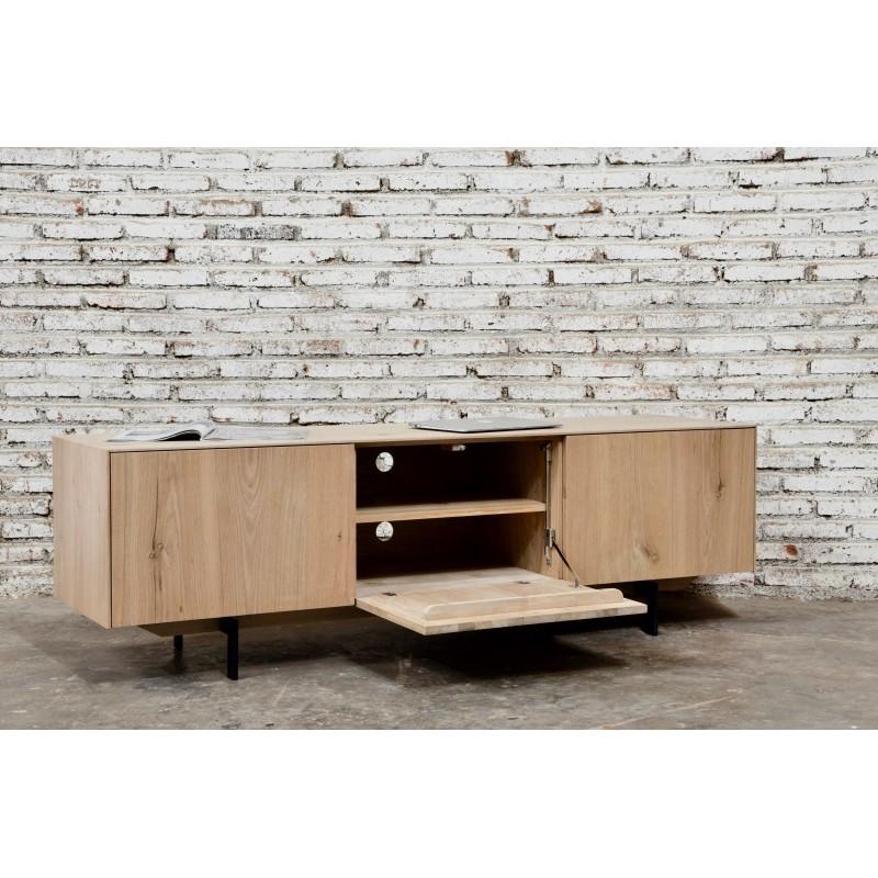 Meuble TV bas contemporain 2 portes 1 tiroir FIFI en chêne massif (chêne naturel) - image 36121