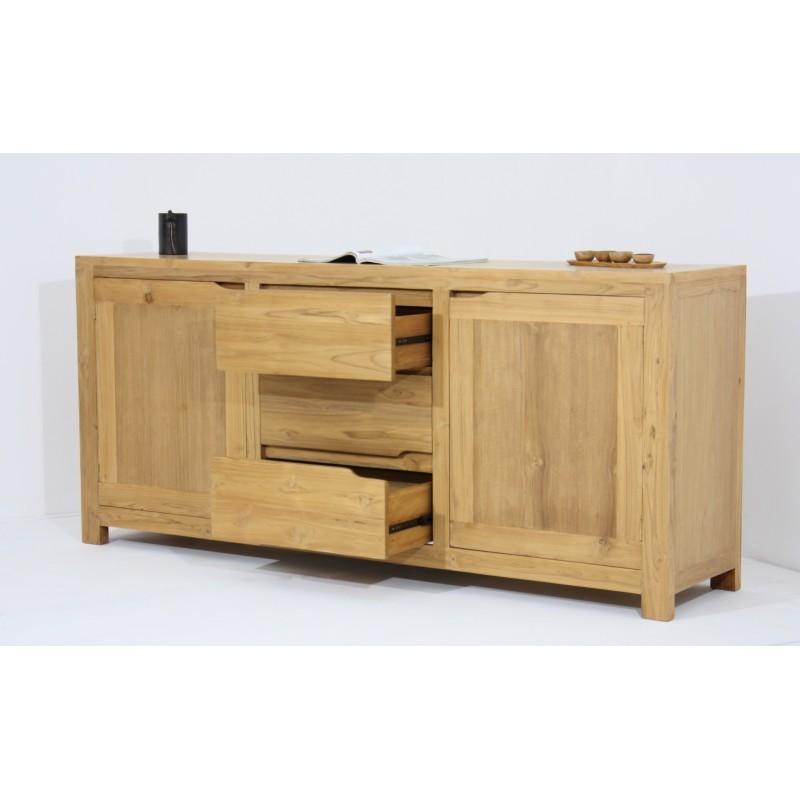 Buffet enfilade contemporain 2 portes 3 tiroirs MARFA en teck massif (naturel) - image 36182