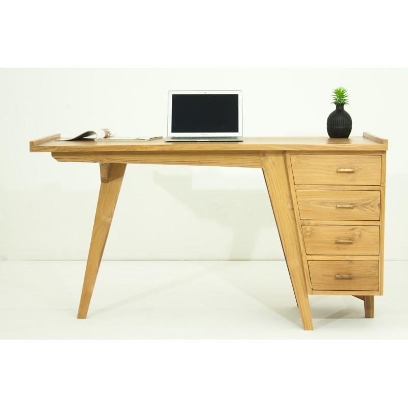 Bureau droit 4 tiroirs design et contemporain MISHA en teck massif (naturel) - image 36183