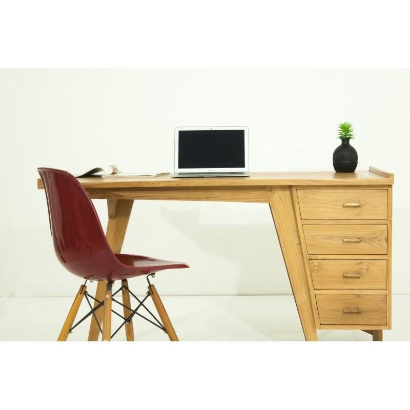 Bureau droit 4 tiroirs design et contemporain MISHA en teck massif (naturel) - image 36184