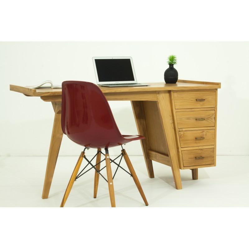 Bureau droit 4 tiroirs design et contemporain MISHA en teck massif (naturel) - image 36188
