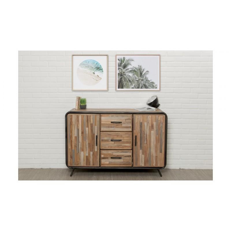 buffet enfilade 2 portes 3 tiroirs industriel 140 cm benoit en teck massif recycl et m tal. Black Bedroom Furniture Sets. Home Design Ideas