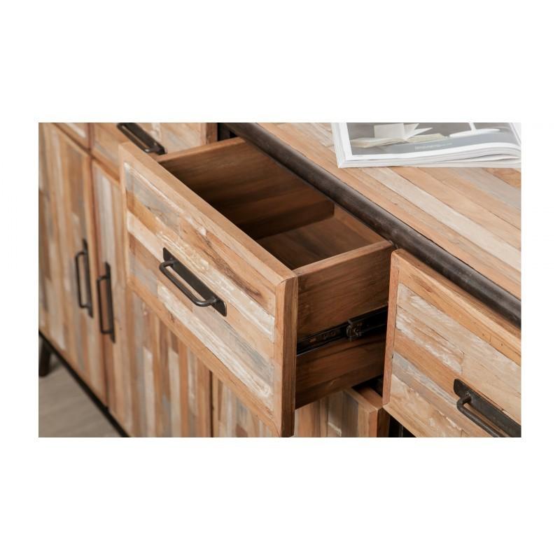Buffet enfilade 4 portes 4 tiroirs industriel 160 cm BENOIT en teck massif recyclé et métal - image 36204