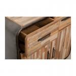 Zeile 2 Türen 2 industrielle Schubladen 90 cm BENOIT massiven Teak recycelt und Metall-Buffet