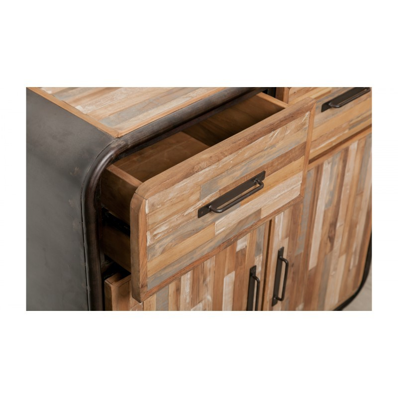 Zeile 2 Türen 2 industrielle Schubladen 90 cm BENOIT massiven Teak recycelt und Metall-Buffet - image 36210