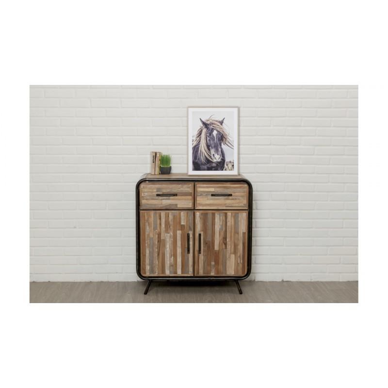 Zeile 2 Türen 2 industrielle Schubladen 90 cm BENOIT massiven Teak recycelt und Metall-Buffet - image 36211