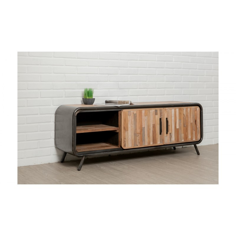 Low TV 2 doors 2 industrial niches 150 cm BENOIT massive teak recycled and metal stand - image 36215