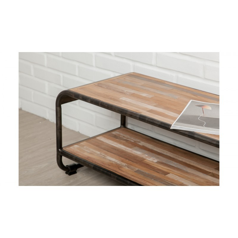 Low TV 2 industrial trays 120 cm BENOIT massive teak recycled and metal stand - image 36225
