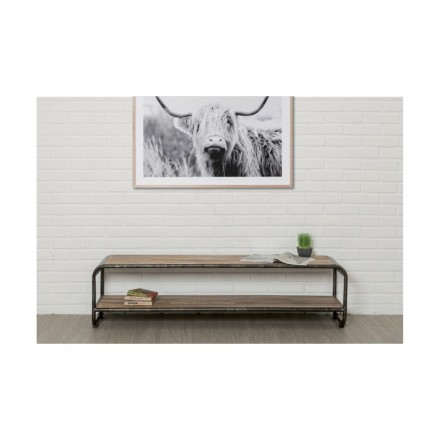Low TV 2 industrial trays 160 cm BENOIT massive teak recycled and metal stand