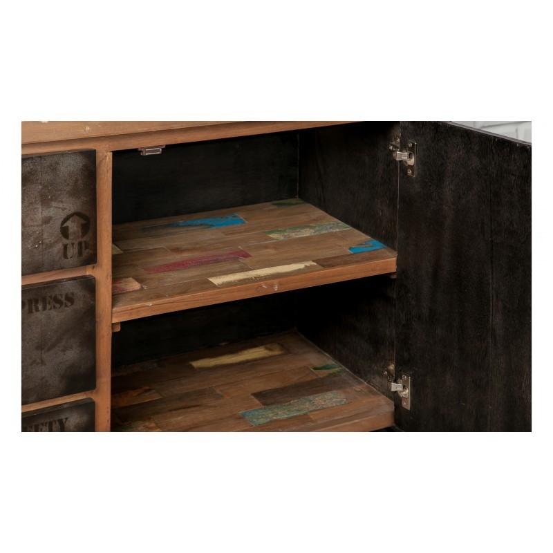 Buffet row 2 doors 3 drawers industrial 190 cm NOAH massive teak recycled and metal - image 36237