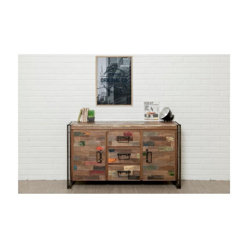 Buffet enfilade 2 portes 3 tiroirs industriel 140 cm NOAH en teck massif recyclé et métal - image 36238