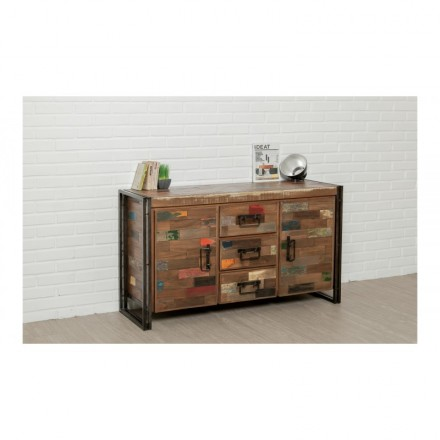 Buffet row 2 doors 3 drawers industrial 140 cm NOAH massive teak recycled and metal
