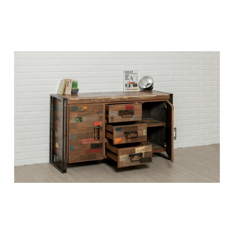 Buffet row 2 doors 3 drawers industrial 140 cm NOAH massive teak recycled and metal - image 36240