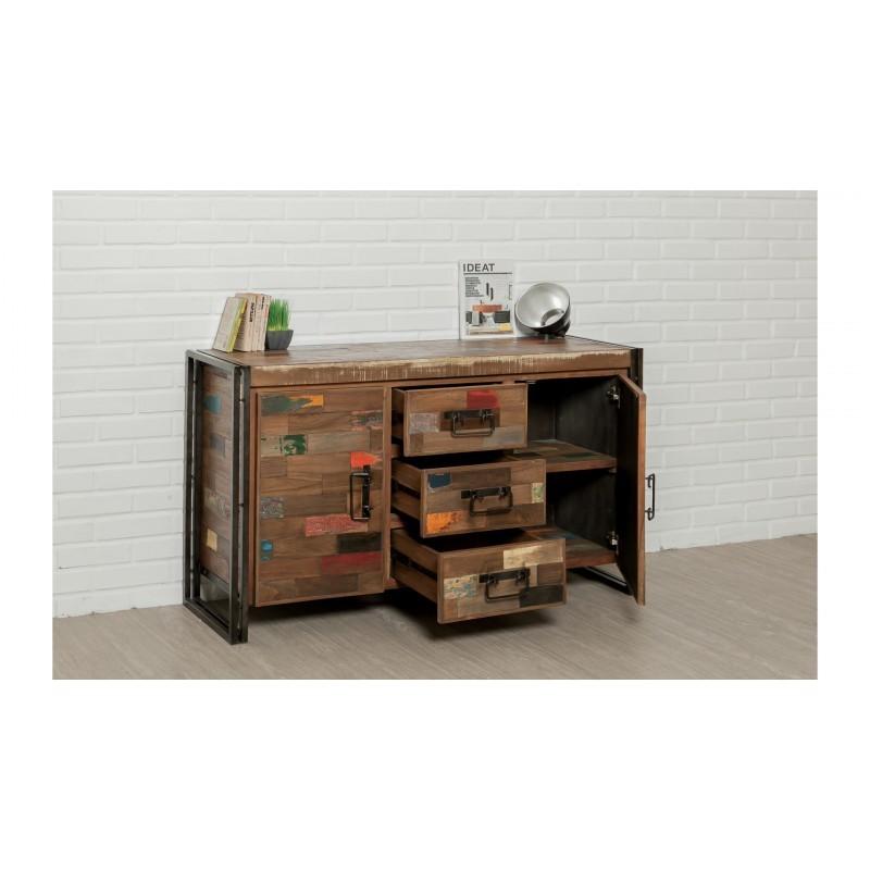 Buffet enfilade 2 portes 3 tiroirs industriel 140 cm NOAH en teck massif recyclé et métal - image 36240