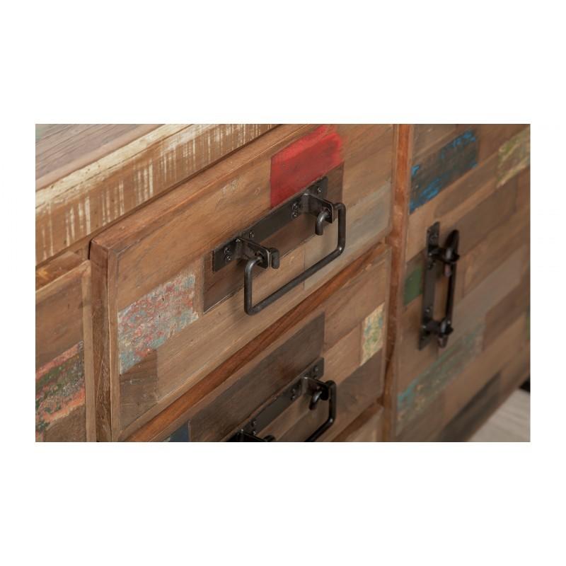 Buffet enfilade 2 portes 3 tiroirs industriel 140 cm NOAH en teck massif recyclé et métal - image 36242