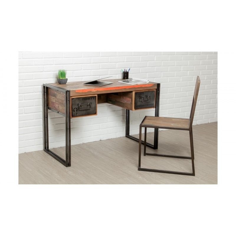 Industrial right office 120 cm NOAH massive teak recycled and metal - image 36243