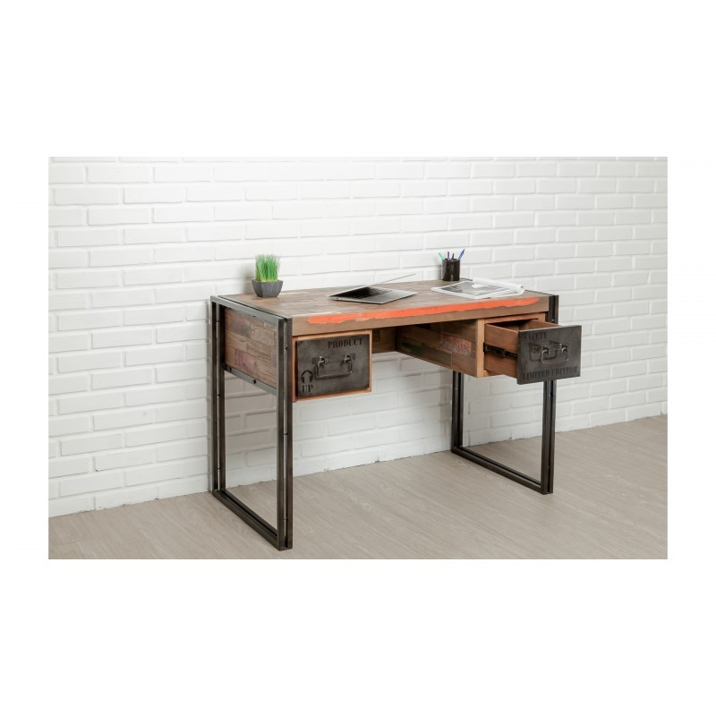 Industrial right office 120 cm NOAH massive teak recycled and metal - image 36244
