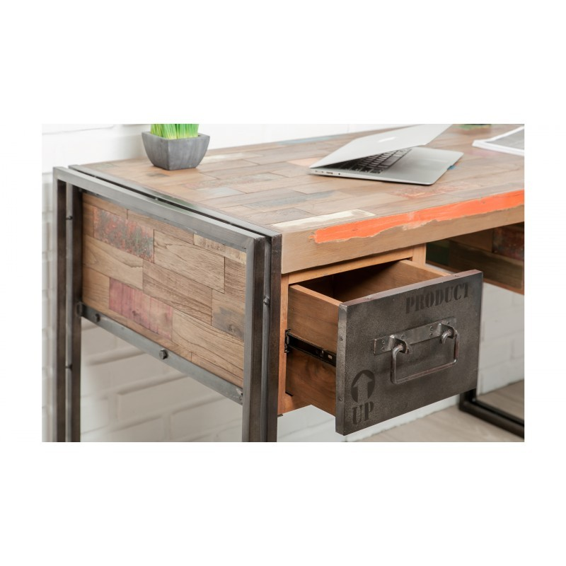 Industrial right office 120 cm NOAH massive teak recycled and metal - image 36245