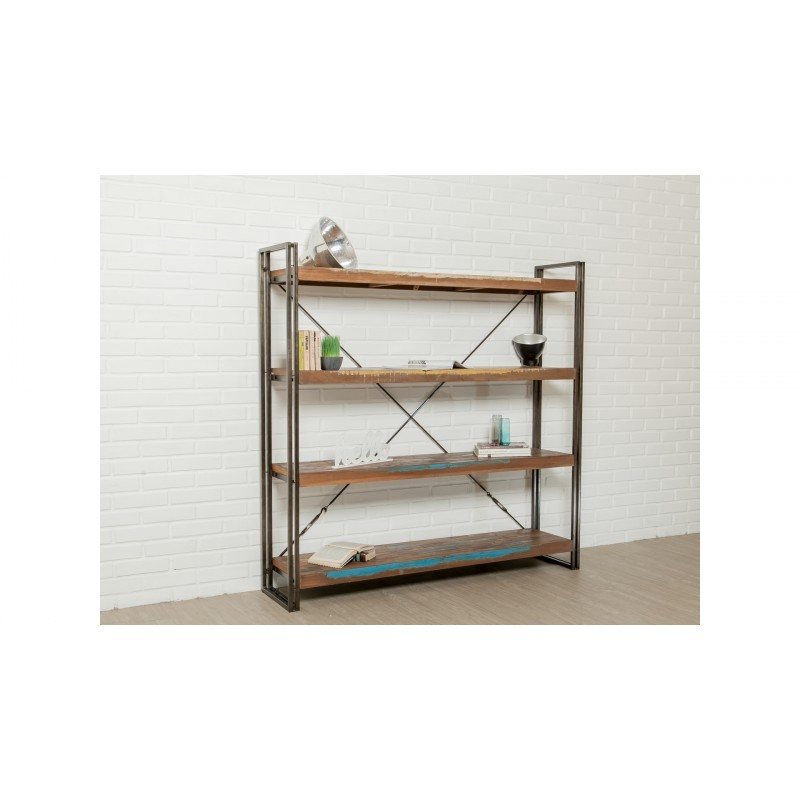 Industrial library 160 cm NOAH massive teak recycled and metal shelf - image 36250