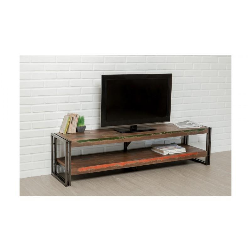 Niedrige TV 2 industrielle Tabletts 160 cm NOAH massiven Teak recycelt und Metall stehen - image 36257