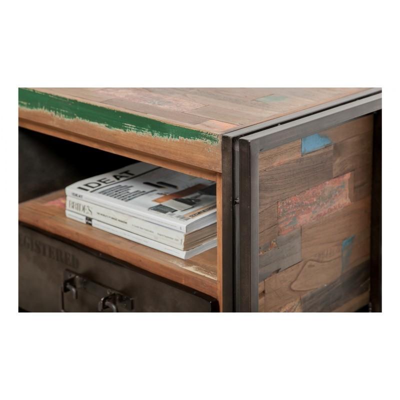 meuble tv bas 1 porte 1 niche 1 tiroir industriel 110 cm