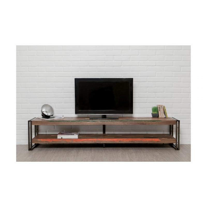 Meuble tv bas 2 plateaux industriel 200 cm noah en teck for Meuble tv 200 cm