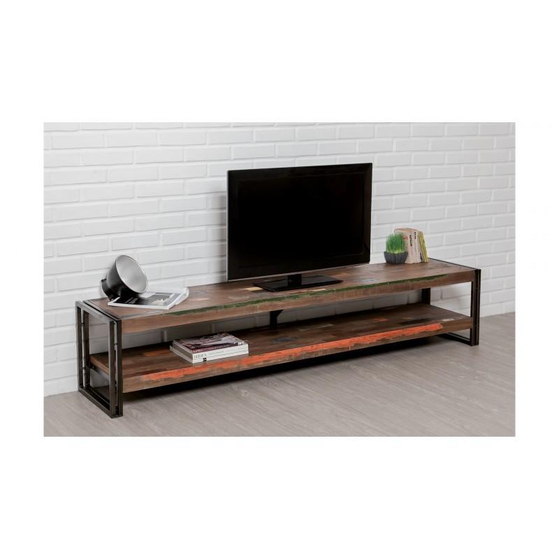 Meuble TV bas 2 plateaux industriel 200 cm NOAH en teck massif recyclé et  métal - Meuble TV