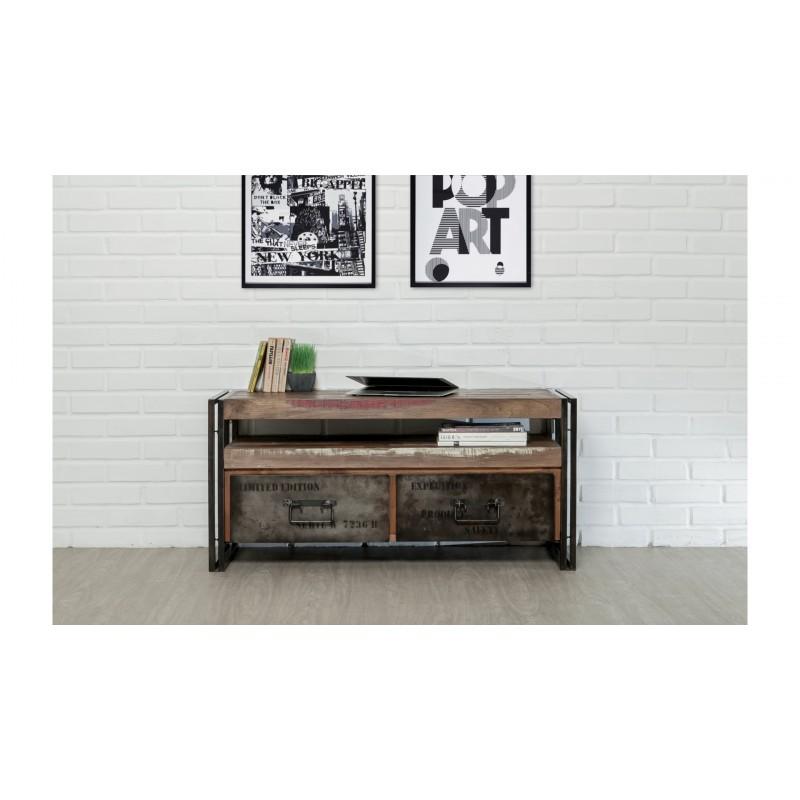 Möbel 2 Schubladen 1 niedrige TV Nische 110 cm NOAH massiven Teak recycelt Industrie und Metall - image 36267