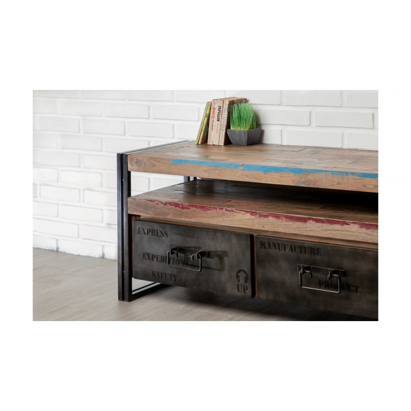 Furniture 2 drawers 1 low TV niche 110 cm NOAH massive teak recycled industrial and metal - image 36269
