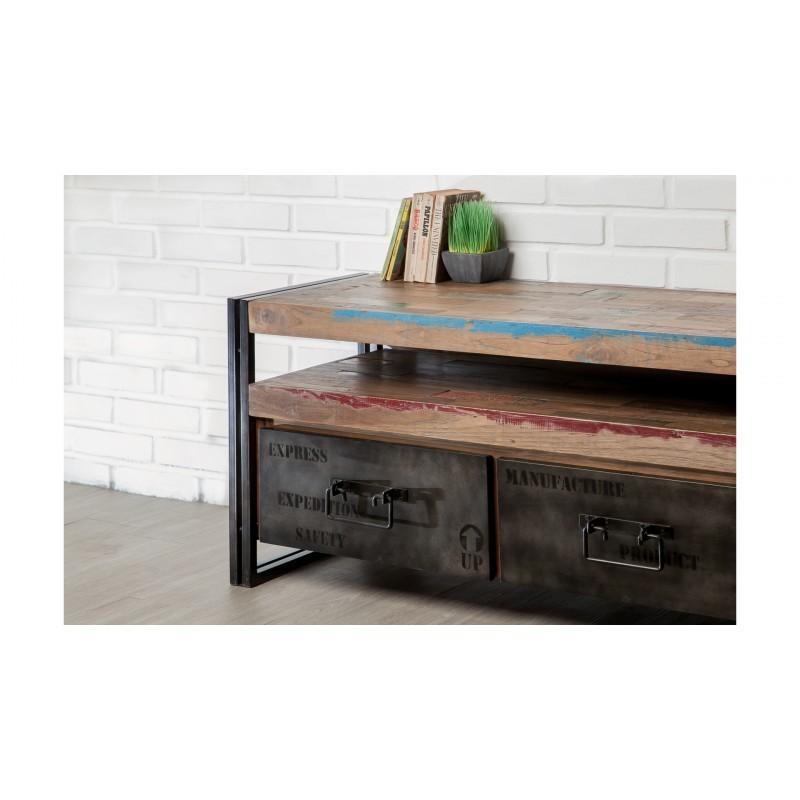 Möbel 2 Schubladen 1 niedrige TV Nische 110 cm NOAH massiven Teak recycelt Industrie und Metall - image 36269
