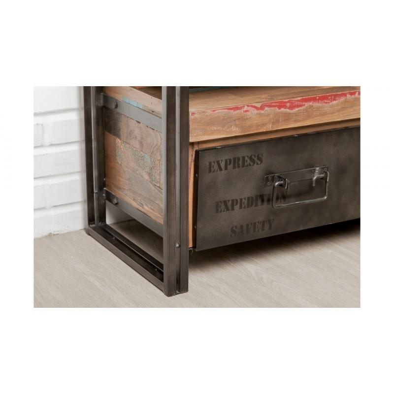Möbel 2 Schubladen 1 niedrige TV Nische 110 cm NOAH massiven Teak recycelt Industrie und Metall - image 36271
