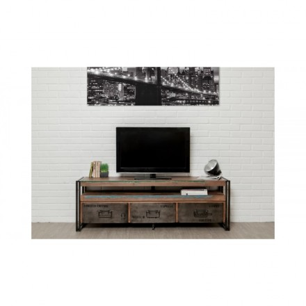 Furnished 3 drawers 1 low TV niche 160 cm NOAH massive teak recycled industrial and metal