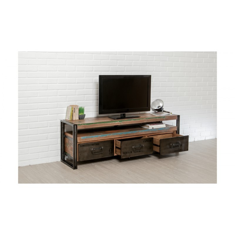 Meuble tv bas 3 tiroirs 1 niche industriel 160 cm noah en for Meuble teck recycle