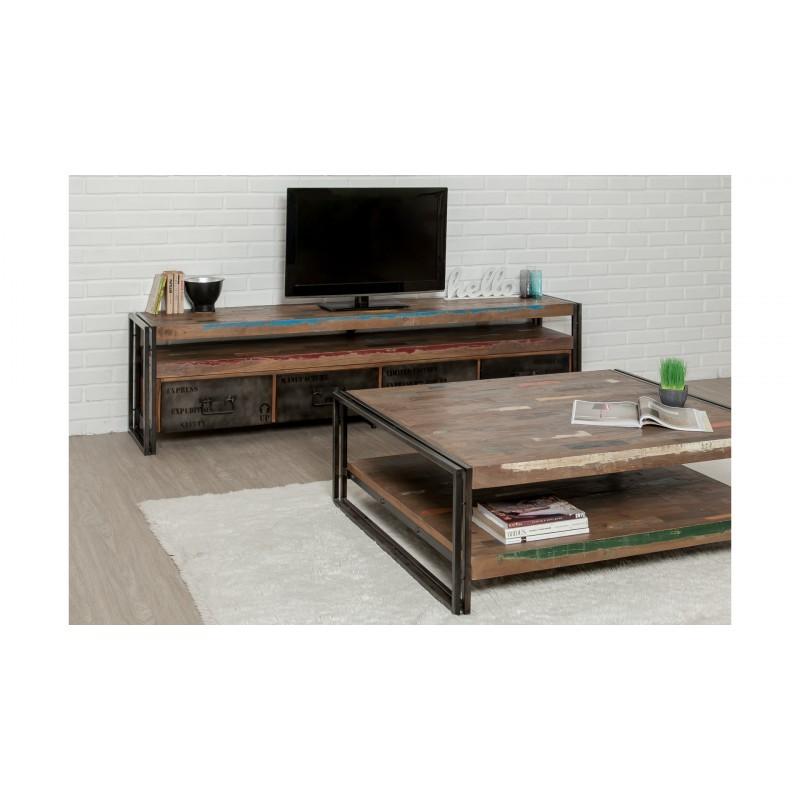 Möblierte 4 Schubladen 1 niedrige TV Nische 210 cm NOAH massiven Teak recycelt Industrie und Metall - image 36284