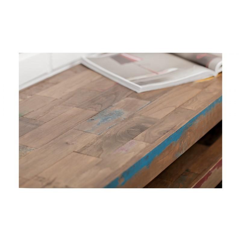 Möblierte 4 Schubladen 1 niedrige TV Nische 210 cm NOAH massiven Teak recycelt Industrie und Metall - image 36289