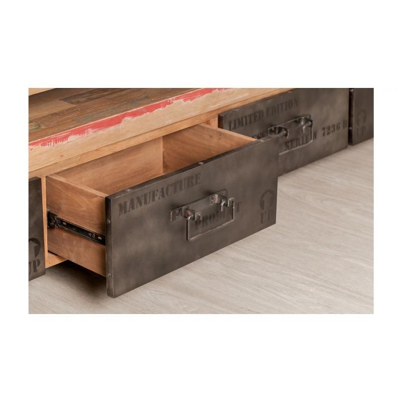 Möblierte 4 Schubladen 1 niedrige TV Nische 210 cm NOAH massiven Teak recycelt Industrie und Metall - image 36291