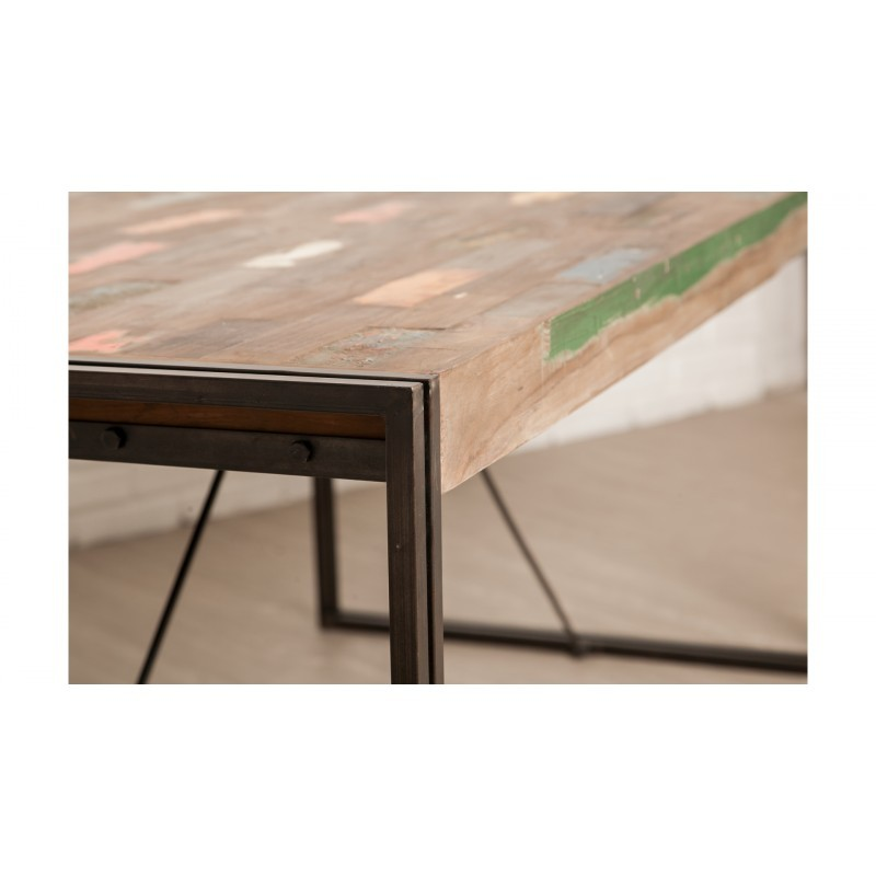 Table vintage NOAH in solid recycled teak and metal (180x90x78cm) - image 36296
