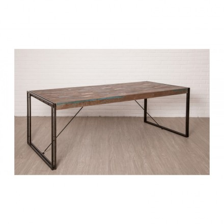 Table vintage NOAH in solid recycled teak and metal (220x100x78cm)