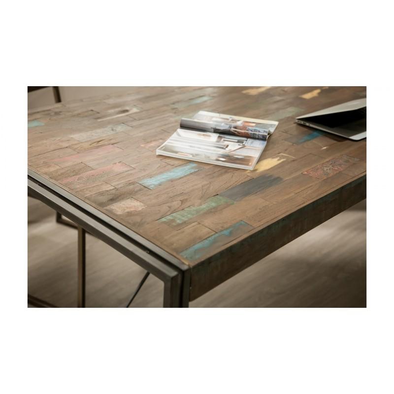tavolo vintage noah in massello di teak riciclato e metallo 220x100x78cm. Black Bedroom Furniture Sets. Home Design Ideas