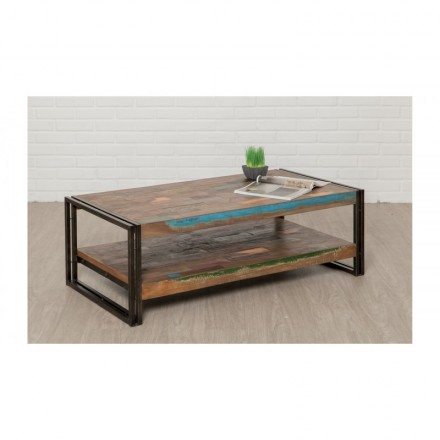 Table Low Double Trays Rectangular Vintage Noah Massive Teak Recycled And Metal 120x60x40cm