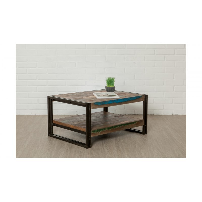 Table low double trays rectangular vintage NOAH massive teak recycled and metal (80x60x40cm) - image 36306