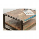 Mesa baja doble bandejas vintage rectangular teca masiva Noé reciclado y metal (80x60x40cm)