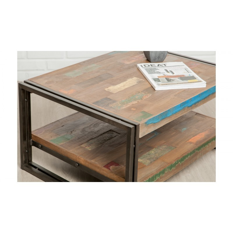 Table low double trays rectangular vintage NOAH massive teak recycled and metal (80x60x40cm) - image 36308
