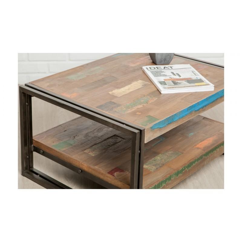 Mesa baja doble bandejas vintage rectangular teca masiva Noé reciclado y metal (80x60x40cm) - image 36308
