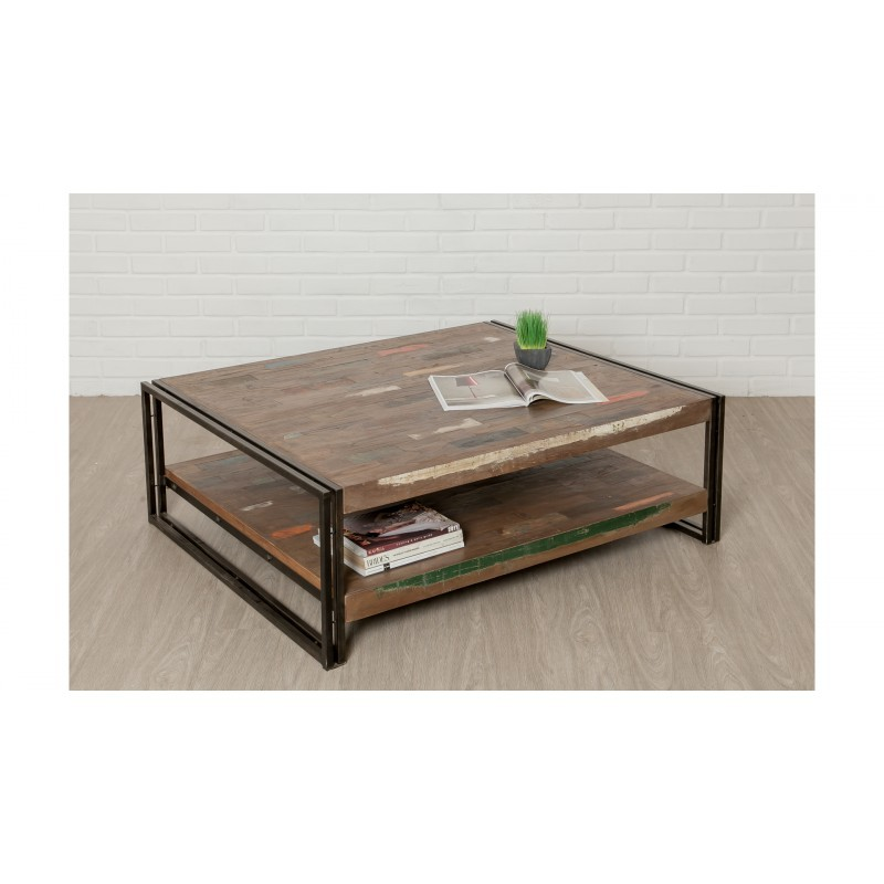 Table low double trays rectangular vintage NOAH massive teak recycled and metal (120x100x40cm) - image 36309
