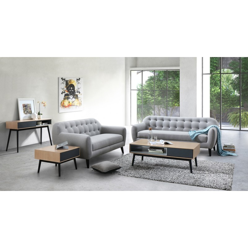 Scandinavian fixed right sofa 3 places VLADA fabric (light gray) - image 36321