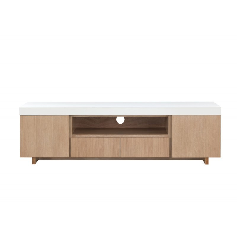 Furniture 2 doors 1 low TV niche 2 drawers contemporary and design EMMA wooden 170 cm (clear, white oak) - image 36343