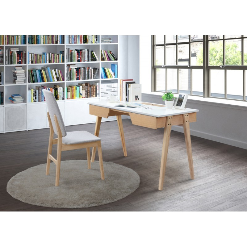 Right office design and Scandinavian TIMEO wooden 120 cm (clear, white oak) - image 36349
